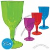 Assorted Color Plastic Wine Glasses 8oz 20ct