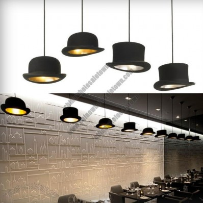 Authentic Bowler and Top Hat Pendant Lights