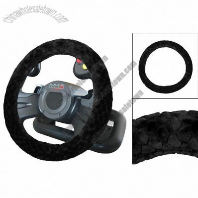 Auto Black Stone Pattern Plush Winter Steering Wheeling Cover Protection