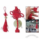 Auto Car Hanger Red Tassels Faux Jade Detail Ornament