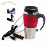 Auto Dual Stainless Steel Electric Heater USB Mug