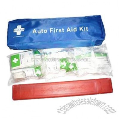 Auto First Aid Kit with Warning Triangle & Reflective Vest