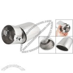 Auto Oval Slant Cut Exhaust Muffler Tip Silver Tone