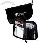 Auto glove compartment organizer with flashlight, tire gauge, and more