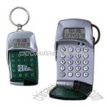 Auto open cover eight digit calculator with clock and keyring