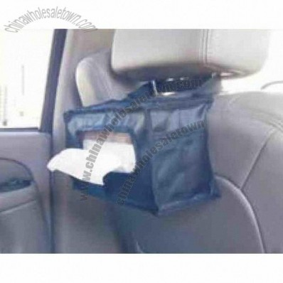 Auto tissue holder organizer mounts to head rest on seat back side