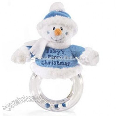 Baby Boy Snowman Baby's First Christmas Ring Rattle