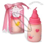 Baby Feeding Bottle Candles with Ribbon Bow