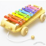 Baby Wooden toy Kid Xylophone Car Pull Along Toy Educational Toy Musical Instrument