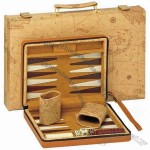 Backgammon set crafted from black zebra wood