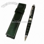 Ball Pen with Leather Pen Pouch