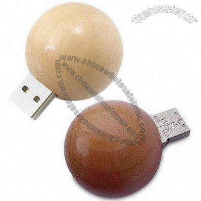 Ball Shape Large Print and Engrave Wooden Thumb Drive, USB Flash Drive