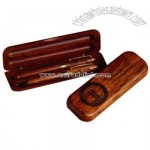 Ballpoint pen and pencil set in rosewood box