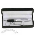 Ballpoint pen and valet silver key holder in gift box