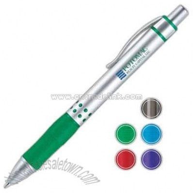 Ballpoint pen with metal barrel and textured rubber grip