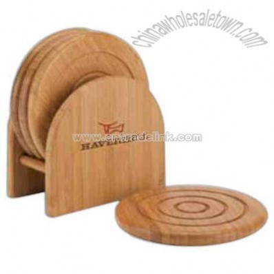 Bamboo 4-piece coaster set with matching holder