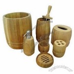 Bamboo Bathroom Accessories Set