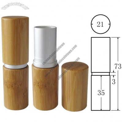 Bamboo Lipstick Case With Aluminum Middle Part