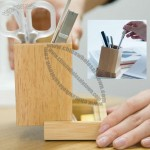 Bamboo Pen Caddy - Wood Desk Pencil Holder