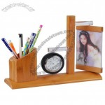 Bamboo Pen Holder with Clock and Photo Frame