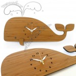 Bamboo Wood Whale Wall Clock