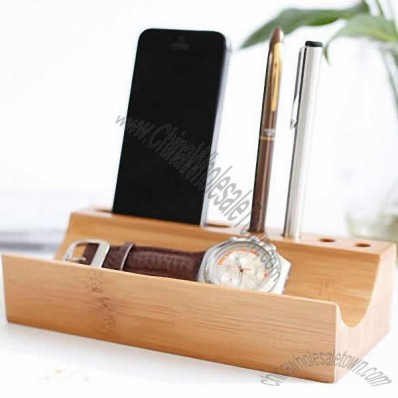 Bamboo Wooden Desk Organizer Cellphone and Pen Holder