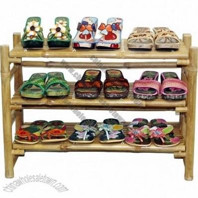 Bamboo folding shoe rack