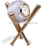Baseball shaped crystal clock