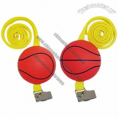 Basketball Stress Ball Badge Holder