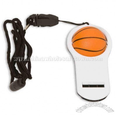 Basketball-Stress ball with whistle and 16