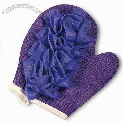 Bath Glove with Mesh Flower