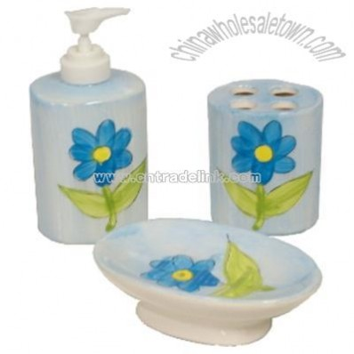 Bathroom Accessory Set Hand Painted Ceramic