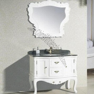 Bathroom Cabinet, Made of Solid Wood, with Marble Mesa
