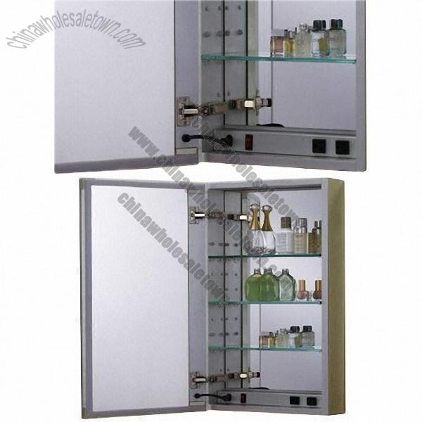 bathroom box bathroom cabinet with anti fog mirrored door and inside box with electrical outlets inside