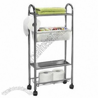 Bathroom Storage Rack with PP Wheels
