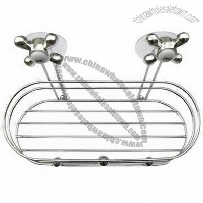 Bathroom Wire Rack with Hot and Cold Water Faucet Suction and Chrome Plating