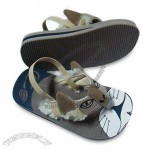 Beach Sandals, Made of Nubuk PU, Fur and Elastic Strap
