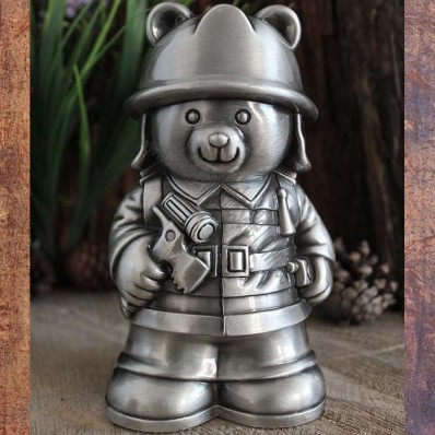 Bear Firefighter Metal Creative Piggy Bank