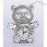 Bear Miniature Silver Clock