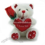 Bear with Red Heart and Rose