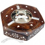 Beautiful Floral Inlay-Wooden Ashtray