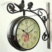 Birds Iron Mute Double-sided Art Wall Clock