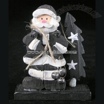 Black & White Santa Standing with Tree, Small