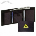 Black 600 denier polyester tri-fold wallet with a coin compartment