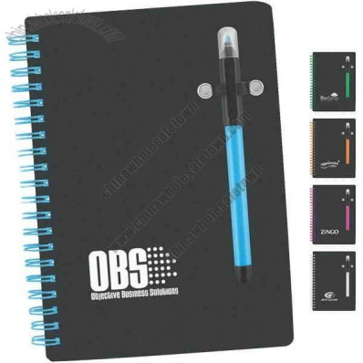 Black Beauty - Spiral Bound Notebook With Contrasting Color Wire And Black Cover