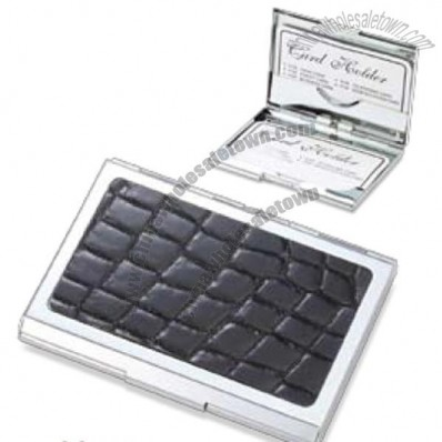 Black Crocodile / Metal Chrome Plated Card Case W/ Inside Clip