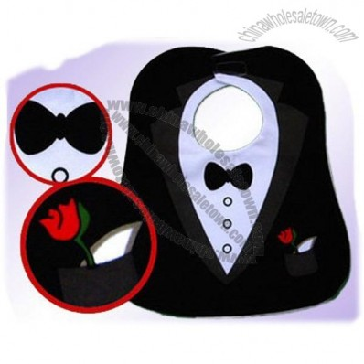 Black Cute Tuxedo Toddler Baby Bib Feeding Bib