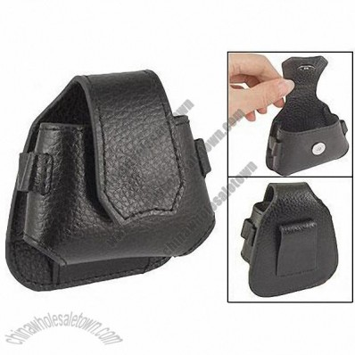 Black Faux Leather Press Stud Closure Pouch Bag for Golf Ball