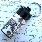 Black Keychain Pill Bottle with Victorian Pattern