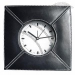 Black Leather Clock with Alarm